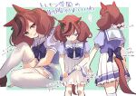 ... 1girl animal_ears blush bow brown_eyes brown_footwear brown_hair facing_away feet_out_of_frame frilled_skirt frills green_background horse_ears horse_girl horse_tail knee_up looking_at_viewer multicolored_hair multiple_views nice_nature_(umamusume) nose_blush ouri_(aya_pine) parted_lips pleated_skirt puffy_short_sleeves puffy_sleeves purple_bow purple_shirt school_uniform shirt shoes short_sleeves sitting skirt smile spoken_ellipsis standing streaked_hair tail thigh-highs tracen_school_uniform translation_request twintails two-tone_background umamusume white_background white_legwear white_skirt