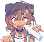 1girl animal_collar animal_ears bangs blush bone_hair_ornament braid brown_eyes brown_hair cheek_pull collar dog_ears dog_girl dog_tail dress fangs finger_in_another's_mouth hair_between_eyes hair_ornament hairclip highres hololive inugami_korone jacket long_hair looking_at_viewer low_twin_braids mouth_pull off_shoulder open_mouth pov pov_hands red_collar saliva sharp_teeth simple_background snout_(artist) solo_focus tail teeth tongue tongue_out twin_braids upper_body virtual_youtuber white_background white_dress yellow_jacket