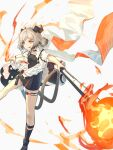 1girl :q arknights bangs black_footwear blonde_hair boots breasts canister choker cloak dress eyebrows_visible_through_hair fire flamethrower flat_chest foot_out_of_frame gas_tank gradient_hair grey_dress grey_hair gun hand_up highres holding holding_gun holding_weapon horns ifrit_(arknights) infection_monitor_(arknights) leg_strap looking_at_viewer low_twintails multicolored_hair orange_eyes parted_bangs short_dress sidelocks solo striped striped_dress tail thigh_strap toeless_footwear tongue tongue_out twintails wagachop weapon white_background white_cloak