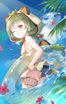 1girl animal_ears ass bangs bare_legs bare_shoulders barefoot beach black_swimsuit blue_sky blunt_bangs blush breasts bubble choker clouds cloudy_sky commentary day elise_(piclic) english_commentary eyebrows fake_animal_ears feet flower from_side full_body genshin_impact green_hair green_swimsuit highres hood hooded_swimsuit innertube kamisato_ayaka leaf looking_at_viewer one_eye_closed palm_tree parted_lips partially_submerged petals raccoon_ears raccoon_hood red_eyes red_flower sayu_(genshin_impact) short_hair sideboob sky small_breasts solo swimsuit teeth thigh_strap thighs toes tree water