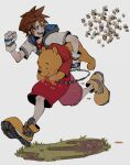 2boys bear bee blue_eyes brown_hair bug carrying chain disney eating fingerless_gloves gloves grey_background highres honey hood hooded_jacket insect jacket jewelry kingdom_hearts multiple_boys necklace oimo_(oimkimn) pooh red_shorts running short_sleeves shorts sora_(kingdom_hearts) sweat symbol-only_commentary white_gloves white_jacket winnie_the_pooh