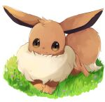 brown_eyes closed_mouth commentary_request eevee full_body gen_1_pokemon goma_(nabepa_nabepa) grass highres no_humans paws pokemon pokemon_(creature) smile solo toes