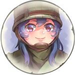 1girl bangs border brown_eyes closed_mouth company_of_heroes hair_between_eyes hat helmet long_hair lowres military military_hat military_jacket military_uniform original portrait purple_hair smile solo thick_eyebrows uniform united_states_army zhainan_s-jun