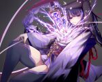 1girl armor bangs breasts commentary_request electricity flower genshin_impact grey_background hakanai highres holding holding_sword holding_weapon japanese_clothes kimono large_breasts long_hair long_sleeves mitsudomoe_(shape) mole mole_under_eye open_mouth purple_hair raiden_(genshin_impact) ribbon sash shoulder_armor simple_background solo sword tassel thigh-highs tomoe_(symbol) violet_eyes weapon wide_sleeves
