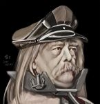 1boy bangs beard bismarck_(kancolle) bismarck_(kancolle)_(cosplay) black_background blonde_hair brown_headwear commentary_request cosplay dated face facial_hair hat highres kantai_collection long_hair male_focus military mustache old old_man otto_von_bismarck peaked_cap portrait real_life solo tk8d32