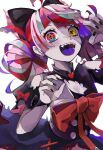 1girl bangs black_nails bow claw_pose colored_tongue dress grey_hair heterochromia highres hololive hololive_indonesia huge_bow kureiji_ollie looking_at_viewer mamiya_miya multicolored_hair open_mouth pink_hair purple_tongue red_bow red_eyes redhead solo symbol-shaped_pupils torn_clothes torn_dress virtual_youtuber white_background wrist_bow yellow_eyes
