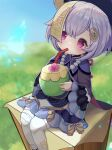 1girl absurdres bead_necklace beads blush coconut coin_hair_ornament dress drinking drinking_straw drinking_straw_in_mouth genshin_impact hair_between_eyes highres jewelry jiangshi long_sleeves miura_dogu_(user_jfpz7573) necklace outdoors purple_dress purple_hair qiqi_(genshin_impact) sitting solo thigh-highs violet_eyes