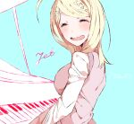 1girl :d ahoge akamatsu_kaede bangs beamed_eighth_notes blonde_hair closed_eyes commentary_request danganronpa_(series) danganronpa_v3:_killing_harmony eighth_note facing_viewer from_side hair_ornament instrument jian_jing long_hair music musical_note musical_note_hair_ornament open_mouth piano playing_instrument playing_piano quarter_note shirt simple_background smile solo sweater_vest upper_body