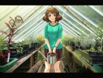 1girl :d bangs blush brown_eyes brown_hair brown_skirt green_shirt greenhouse h-appa hibike!_euphonium highres holding holding_watering_can indoors looking_at_viewer open_mouth oumae_kumiko photo_background plant pleated_skirt shirt short_hair short_sleeves skirt smile solo t-shirt watering_can