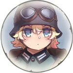 1girl backpack bag bangs blonde_hair blue_eyes closed_mouth company_of_heroes german_army goggles goggles_on_head hair_between_eyes hat lowres military military_hat military_uniform original portrait short_hair solo star_(symbol) uniform v-shaped_eyebrows world_war_ii zhainan_s-jun