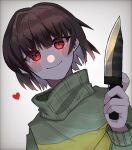 1other bangs blush_stickers brown_hair chara_(undertale) green_sweater grey_background hair_intakes heart highres holding holding_knife horizontal_stripes knife long_sleeves looking_at_viewer other_focus red_eyes short_hair smile solo striped striped_sweater sweater undertale upper_body utitateosoba