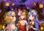 3girls :d absurdres armor armored_dress bangs blonde_hair blunt_bangs bow cherry_blossoms choker commentary detached_sleeves ema english_commentary eyebrows_visible_through_hair festival genshin_impact grey_eyes grin hair_between_eyes hair_bow hair_ornament hair_ribbon highres holding japanese_clothes kamisato_ayaka lampion light_brown_hair light_purple_hair long_hair looking_at_another lumine_(genshin_impact) mask mask_on_head multiple_girls night night_sky open_mouth ponytail ribbon sarashi scarf short_hair short_hair_with_long_locks sidelocks sky smile stairs tattoo tiny_owlbear torii tree tress_ribbon white_scarf wide_sleeves yellow_eyes yoimiya_(genshin_impact)