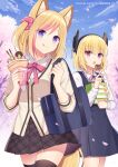 2girls :o :q animal_ear_fluff animal_ears bag black_dress black_legwear black_skirt blonde_hair blush brown_jacket character_request closed_mouth collared_shirt commentary_request crepe day dress eating food fox_ears fox_girl fox_tail hitsuki_rei holding holding_food jacket k'wa_(vtuber) kitsunekon long_sleeves multicolored_hair multiple_girls one_side_up open_mouth outdoors petals pink_hair pleated_dress pleated_skirt pocky school_bag school_uniform shirt skirt sleeveless sleeveless_dress smile streaked_hair tail takoyaki thigh-highs tongue tongue_out violet_eyes virtual_youtuber white_shirt