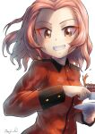 1girl artist_name brown_eyes commentary cup girls_und_panzer grin highres holding holding_cup holding_saucer jacket kuroneko_douji long_sleeves looking_at_viewer medium_hair military military_uniform red_jacket redhead rosehip_(girls_und_panzer) saucer signature simple_background smile solo spilling st._gloriana's_military_uniform tea teacup uniform upper_body white_background