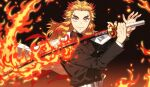 1boy belt black_jacket blonde_hair blurry buttons cape closed_mouth colored_tips commentary_request depth_of_field embers fire flame flaming_sword flaming_weapon forehead forked_eyebrows gakuran gradient gradient_background hands_up highres holding holding_sword holding_weapon jacket k_(gear_labo) katana kimetsu_no_yaiba long_hair long_sleeves looking_at_viewer male_focus multicolored_hair orange_eyes redhead rengoku_kyoujurou school_uniform simple_background smile solo sword thick_eyebrows two-tone_hair upper_body weapon white_belt white_cape