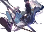 1girl ;o animal_ears arknights armband bangs blue_coat blue_pants brown_shirt chi_cha_rigbo coat commentary_request foot_out_of_frame gauntlets gloves grani_(arknights) greaves grey_eyes grey_footwear grey_gloves grey_hair grey_headwear highres hip_vent holding holding_polearm holding_spear holding_weapon horse_ears horse_girl horse_tail long_hair looking_at_viewer one_eye_closed open_clothes open_coat pants polearm ponytail salute shirt shoe_soles shoes shoulder_guard silver_hair sketch smile solo spear tail visor_cap weapon white_background