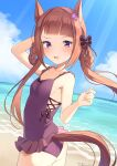 1girl absurdres animal_ears arm_behind_head arm_up ass bare_arms bare_shoulders blue_sky blush bow braid brown_hair casual_one-piece_swimsuit clouds commentary_request cowboy_shot dated day flower frilled_swimsuit frills hair_flower hair_ornament hair_rings highres hirota_fruit horizon horse_ears horse_girl horse_tail long_hair ocean one-piece_swimsuit outdoors purple_bow purple_flower purple_swimsuit sky solo sweep_tosho_(umamusume) swimsuit tail twin_braids twintails twitter_username umamusume very_long_hair water