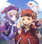 2girls ahoge backpack bag bangs bead_necklace beads blonde_hair blue_sky coin_hair_ornament dress earrings genshin_impact gloves hair_between_eyes hat jewelry jiangshi klee_(genshin_impact) long_sleeves looking_at_viewer lunaticmed multiple_girls necklace open_mouth outdoors pointy_ears purple_dress purple_hair qing_guanmao qiqi_(genshin_impact) red_dress red_eyes red_headwear sky thigh-highs violet_eyes