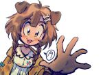:3 animal_collar animal_ears bangs blue_bow bone_hair_ornament bow braid brown_eyes brown_hair buttons collar dog_ears dog_girl dress fangs fingers foreshortening hair_between_eyes hair_ornament hairclip hololive inugami_korone jacket long_hair low_twin_braids off_shoulder outstretched_arm reaching_out red_collar short_dress snout_(artist) spoken_object twin_braids virtual_youtuber white_background white_dress yellow_jacket
