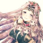 amato_nagi black_leotard chibi collar euryale_(fate) fate/grand_order fate/hollow_ataraxia fate/stay_night fate_(series) flower_wreath gorgon_(fate) hairband highres leotard lolita_hairband long_hair medusa_(fate) medusa_(lancer)_(fate) medusa_(rider)_(fate) multiple_persona purple_hair siblings sisters smile stheno_(fate) twins twintails twitter_username very_long_hair violet_eyes