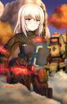 1girl autumn_leaves bangs black_gloves black_headwear black_pants black_shirt blue_eyes blue_sky body_armor clear_sky closed_mouth commentary day emblem eyebrows_visible_through_hair frown girls_und_panzer gloves headwear_removed helmet helmet_removed highres holding holding_helmet holding_notebook insignia itsumi_erika kuromorimine_(emblem) long_hair looking_at_viewer mecha medium_hair notebook outdoors pants parody pouch redbaron shirt silver_hair sky solo standing steam titanfall_(series) tree twitter_username