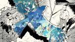 2boys animal bald belt bird black_coat coat coat_on_shoulders hands_in_pockets highres looking_up multiple_boys off_shoulder pants partially_colored ryuuguuji_ken sa_(1satsuki0) sandals sano_manjirou shirt shoes short_hair standing tank_top tokyo_revengers