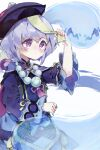 1girl bangs bead_necklace beads blush coin_hair_ornament dress genshin_impact ghost hair_between_eyes hat highres jewelry jiangshi necklace poppogi_(csh012) purple_dress purple_hair qing_guanmao qiqi_(genshin_impact) simple_background violet_eyes white_background wide_sleeves