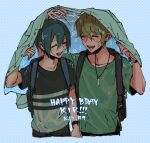 2boys ahoge alternate_costume amami_rantarou arm_at_side arm_up bangs brown_pants brown_shirt closed_eyes collarbone commentary covering cropped_legs danganronpa_(series) danganronpa_v3:_killing_harmony dated english_commentary halftone halftone_background hand_up happy_birthday holding jewelry laaaicha male_focus multiple_boys necklace pants ring saihara_shuuichi shirt shirt_removed short_hair smile watch watch wet wet_clothes wet_hair