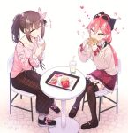 2girls ahoge bra_strap brown_hair burger cat_hair_ornament chair closed_eyes cup disposable_cup eating food french_fries garter_straps hair_ornament heart hikawa_shou hololive long_skirt low_twintails mcdonald's miniskirt multiple_girls pink_hair plaid plaid_skirt ponytail sakura_miko shoes skirt sneakers table thigh-highs tokino_sora twintails virtual_youtuber