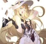 1girl animal_ears arknights bare_shoulders black_gloves black_swimsuit blonde_hair breasts cat_ears commentary cowboy_shot gloves hat highres lingzi long_hair looking_at_viewer one_eye_closed open_mouth partially_fingerless_gloves pose small_breasts smile solo sparkle sun_hat swimsuit swire_(arknights) very_long_hair white_headwear