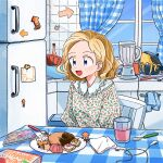 1girl album_cover arrow_(symbol) blender blonde_hair cd_case chair cover cup curtains doughnut earphones food fork highres indoors kitchen mokeo napkin open_mouth original plate pot refrigerator sitting spoon table window