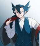 1boy absurdres bangs black_jacket blue_eyes blue_pants blue_vest buttons closed_mouth collared_shirt commentary_request dressing elite_four gradient gradient_background grimsley_(pokemon) hair_between_eyes hand_up highres holding holding_clothes holding_jacket jacket long_sleeves looking_at_viewer male_focus pants pokemon pokemon_(game) pokemon_bw raised_eyebrows shirt short_hair smile spiky_hair usarinko vest white_shirt