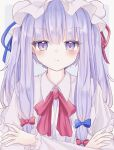 1girl bangs blue_bow border bow bowtie closed_mouth crescent crescent_pin crossed_arms eyebrows_visible_through_hair grey_background hair_bow hat highres korira long_hair long_sleeves looking_at_viewer mob_cap multiple_bows patchouli_knowledge pout purple_hair red_bow red_neckwear simple_background solo touhou upper_body violet_eyes white_border white_headwear