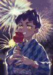 1boy alternate_costume bangs bright_pupils candy_apple dark-skinned_male dark_skin fingernails fireworks food grin highres holding hop_(pokemon) komame_(st_beans) looking_at_viewer male_focus night outdoors poke_ball_print pokemon pokemon_(game) pokemon_swsh purple_hair sash short_hair sky smile solo symbol-only_commentary teeth upper_body white_pupils yellow_eyes