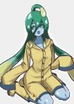 boots chained_tan coat collarbone colored_sclera english_commentary green_eyes green_hair green_sclera grey_background hair_between_eyes long_hair monster_girl monster_musume_no_iru_nichijou raincoat sitting sleeves_past_fingers sleeves_past_wrists slime_girl suu_(monster_musume) very_long_hair wariza yellow_coat yellow_footwear