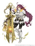1girl ahoge armor armored_boots blue_eyes boots braid breastplate dorothy_(sinoalice) faulds full_body gauntlets glasses hair_ornament hairclip headwear_removed helmet helmet_removed holding holding_helmet holding_sword holding_weapon huge_weapon ji_no long_hair looking_at_viewer messy_hair official_art one_eye_closed over-rim_eyewear plate_armor purple_hair semi-rimless_eyewear shoulder_armor sinoalice smile solo square_enix sword weapon white_background