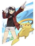 1girl 2others absurdres artist_name baseball_cap brown_hair english_commentary gen_1_pokemon green_eyes grey_shorts hat highres jacket legendary_pokemon medium_hair multiple_others pikachu pointing pointing_forward pokemon pokemon_(creature) pokemon_(game) pokemon_unite red_jacket shorts solo_focus tostantan when_you_see_it white_headwear zapdos