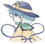 1girl aqua_hair bangs black_headwear blue_eyes child closed_mouth commentary_request cropped_torso expressionless eyebrows_visible_through_hair frilled_shirt frills from_side hat hat_ribbon komeiji_koishi long_sleeves lotosu profile ribbon shirt short_hair sidelocks sideways_mouth simple_background solo third_eye touhou white_background yellow_ribbon yellow_shirt