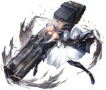 1girl blonde_hair blue_bow bow breasts dress floating_hair gun hair_bow highres holding holding_gun holding_weapon huge_weapon long_hair mechanical_arms mechanical_legs medium_breasts morichika_shuuto original science_fiction shell_casing smile solo v-shaped_eyebrows weapon white_dress