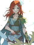 1girl :d bangs bow_(weapon) breasts cape defense_of_the_ancients dota_2 eren_(artist) facepaint flower forehead green_flower hair_flower hair_ornament highres holding holding_bow_(weapon) holding_weapon long_hair looking_at_viewer open_mouth orange_hair short_sleeves simple_background smile solo weapon white_background