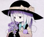 1girl bangs black_eyes black_headwear child colored_eyelashes commentary_request eyebrows_visible_through_hair flat_chest flower frilled_shirt frilled_sleeves frills grey_background grey_hair half-closed_eyes hands_together hands_up hat hat_ribbon holding holding_flower komeiji_koishi long_hair long_sleeves lotosu muted_color parted_lips purple_flower ribbon shirt sidelocks simple_background sketch solo third_eye touhou upper_body wide_sleeves yellow_ribbon yellow_shirt