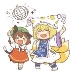 >_< 2girls arm_up bangs black_footwear blonde_hair blush_stickers bow bowtie brown_hair cat_tail chen chibi citrus_(place) closed_eyes disco_ball dress earrings fox_tail full_body green_headwear hat index_finger_raised jewelry long_sleeves medium_hair mob_cap multiple_girls multiple_tails open_mouth pillow_hat red_dress shirt shoes simple_background smile socks sparkle standing standing_on_one_leg tail tassel touhou two_tails white_background white_dress white_headwear white_legwear white_neckwear white_shirt wide_sleeves yakumo_ran