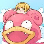 1girl :3 blonde_hair blush chibi crossover gen_1_pokemon green_eyes long_sleeves miyamoto_frederica pokemon pokemon_(creature) slowpoke smile symbol-only_commentary takato_kurosuke
