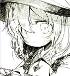 1girl bangs child commentary_request flat_chest frilled_shirt frills greyscale hat komeiji_koishi looking_at_viewer lotosu monochrome open_mouth shirt sidelocks simple_background sketch solo touhou upper_body white_background wide-eyed