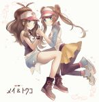 2girls bangs baseball_cap black_vest blue_eyes blush boots bow brown_hair closed_mouth commentary_request denim denim_shorts double_bun floating_hair hand_up hat high_ponytail highres hilda_(pokemon) holding_hands legwear_under_shorts long_hair looking_at_viewer multiple_girls nasakixoc pantyhose pink_bow pokemon pokemon_(game) pokemon_bw pokemon_bw2 rosa_(pokemon) shirt shoes short_shorts shorts sidelocks sleeveless sleeveless_shirt smile sneakers tank_top twintails vest visor_cap white_shirt wristband yellow_shorts