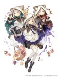3girls :d basket blonde_hair book cake candy cracker cupcake doughnut eyebrows_visible_through_hair food frills full_body hood hood_up ji_no licking_lips long_hair looking_at_viewer macaron multiple_girls official_art open_mouth poncho shorts sinoalice smile square_enix thigh-highs three_little_pigs_(sinoalice) tongue tongue_out upper_teeth violet_eyes white_background