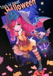 1girl :o bangs bat bat_wings black_footwear boots bow bowtie cage candy cat colored_skin dark_willow defense_of_the_ancients dota_2 dress eren_(artist) food full_body hair_between_eyes halloween halloween_costume hat highres holding horns lollipop long_hair long_sleeves looking_at_viewer night night_sky open_mouth pink_hair pink_skin pumpkin sky star_(sky) star_(symbol) striped striped_legwear tree tree_branch twintails wings witch witch_hat yellow_eyes