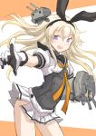 1girl akizuki_(kancolle) blonde_hair commentary_request corset cowboy_shot fuji_(pixiv24804665) gloves highres kantai_collection long_hair looking_at_viewer multicolored multicolored_clothes multicolored_gloves neckerchief open_mouth pleated_skirt pointing rensouhou-chan round_teeth school_uniform serafuku shimakaze_(kancolle) skirt smile solo teeth two-tone_background upper_teeth violet_eyes white_background white_skirt yellow_neckwear