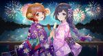 2girls ainy fireworks light multiple_girls night night_sky original shadow sky