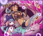 animal_hood arm_tattoo bottle braid braided_ponytail brown_eyes brown_hair cat_hood decufhfsdr fang_necklace highres hood jewelry kayna_(monster_hunter) loincloth mask mask_on_head mizutsune monster_hunter_(series) monster_hunter_stories_2 multicolored_hair navel neck_ring one_eye_closed open_mouth reclining sake_bottle smile stomach tattoo tooth_necklace tribal tribal_tattoo tsukino_(monster_hunter) two-tone_hair